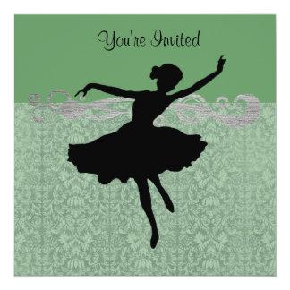 Invitación verde del baile del damasco del vintage