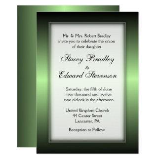 Invitación verde del boda del brillo