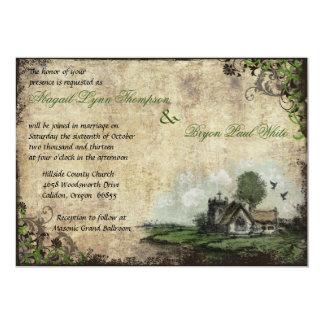 Invitación verde del boda del vintage de la