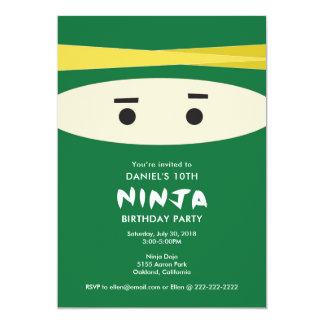 Invitación verde del fiesta de Ninja