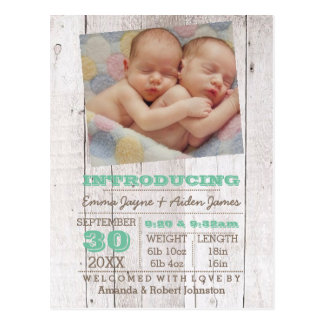 Invitación verde del nacimiento de la foto de los postal