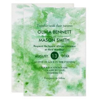 Invitación verde moderna del boda de la acuarela