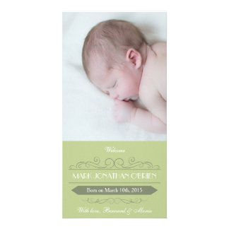 Invitación verde Photocard del nacimiento del Tarjetas Personales