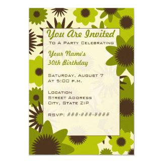 Invitación verde retra del fiesta de las flores