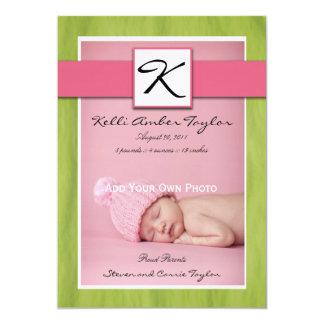 Invitación verde rosada del nacimiento de la niña invitación 12,7 x 17,8 cm