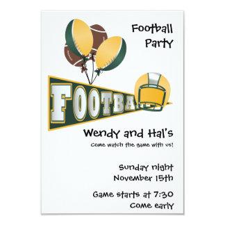 Invitación verde y amarilla del fiesta del fútbol