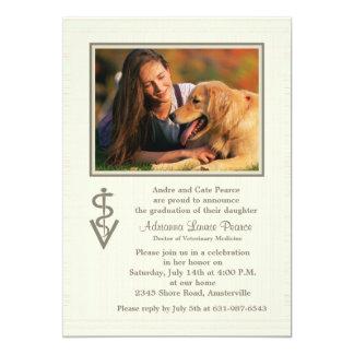 Invitación veterinaria de la foto de la graduación invitación 12,7 x 17,8 cm