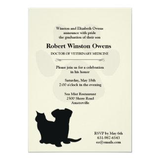 Invitación veterinaria de la graduación de la invitación 12,7 x 17,8 cm