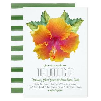 Tarjeta Invitación vibrante coloreada del boda del hibisco