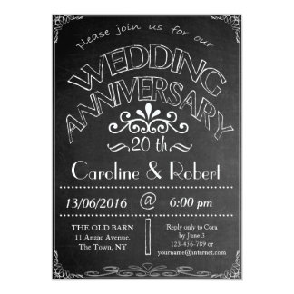 Invitación vigésima del aniversario de boda de la
