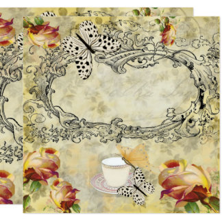 Invitación vintage tazas y mariposas decoupage