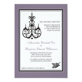 Invitación violeta con clase del boda de la