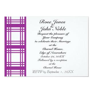 Invitación (violeta) de marfil del boda de la