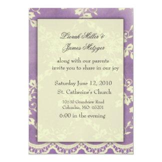 Invitación violeta del boda del cordón