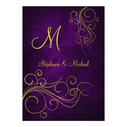 Invitación violeta elegante del boda del monograma