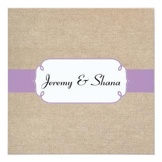 Invitación violeta y beige del vintage de la
