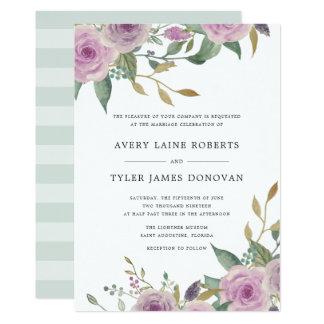 Invitación violeta y sabia del boda
