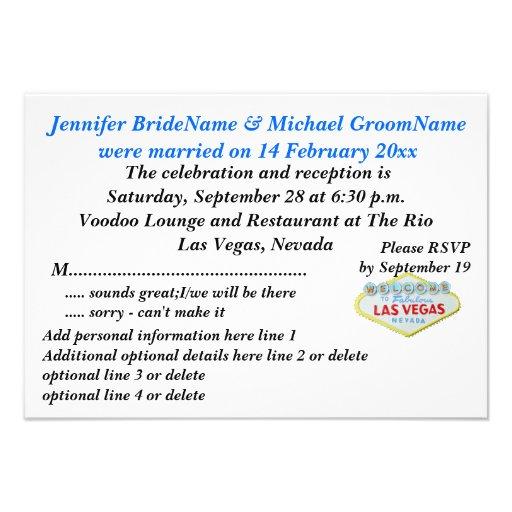 Invitación y celebración de la boda de Las Vegas