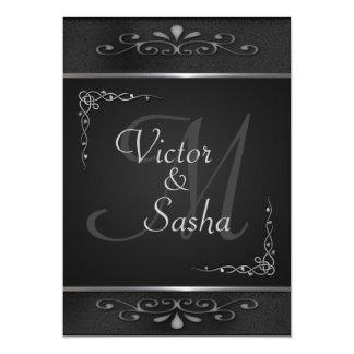 Invitaciones adornadas de la bodas de plata negra invitación 12,7 x 17,8 cm