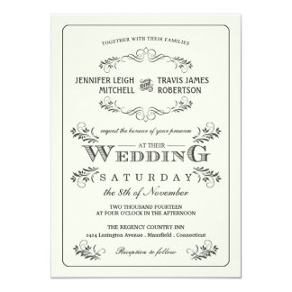 Invitaciones adornadas del boda del Flourish del Invitación 11,4 X 15,8 Cm