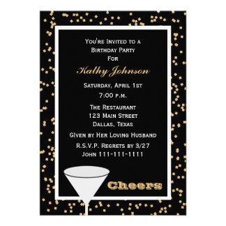 Invitaciones adultas de la fiesta de cumpleaños --