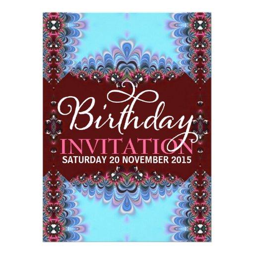 Invitaciones adultas del cumpleaños del cordón azu comunicados personales