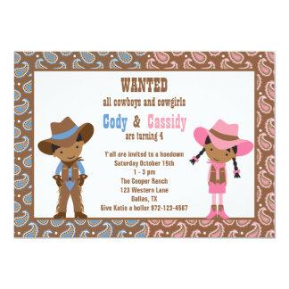 Invitaciones afroamericanas del vaquero y de la invitación 12,7 x 17,8 cm