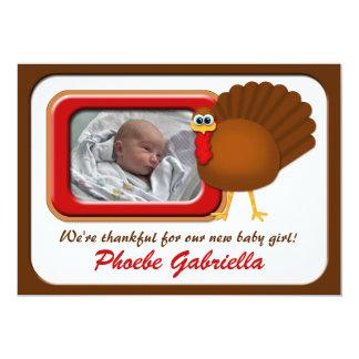 Invitaciones agradecidas del nacimiento de Turquía Invitación 12,7 X 17,8 Cm