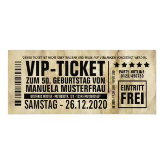 """Invitaciones al cumpleaños (""""VIP"""") Invitación 10,1 X 23,5 Cm"""