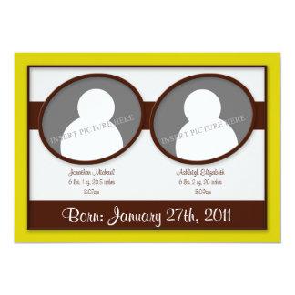 Invitaciones amarillas del nacimiento de los invitación 12,7 x 17,8 cm