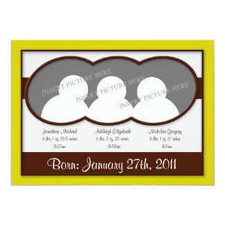 Invitaciones amarillas del nacimiento de tríos de invitación 12,7 x 17,8 cm