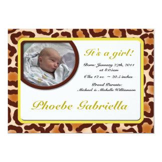 Invitaciones amarillas del nacimiento del invitación 12,7 x 17,8 cm