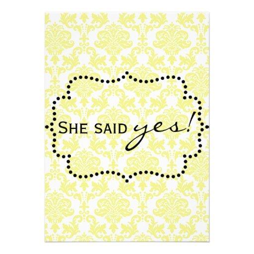Invitaciones amarillas limón del damasco comunicados personales