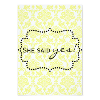 Invitaciones amarillas limón del damasco invitación 12,7 x 17,8 cm