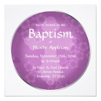 Invitaciones Amethyst del bautismo de la filigrana Invitación 13,3 Cm X 13,3cm