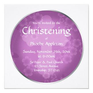 Invitaciones Amethyst del bautizo de la filigrana Invitación 13,3 Cm X 13,3cm