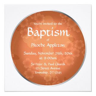 Invitaciones anaranjadas coralinas del bautismo de invitación 13,3 cm x 13,3cm