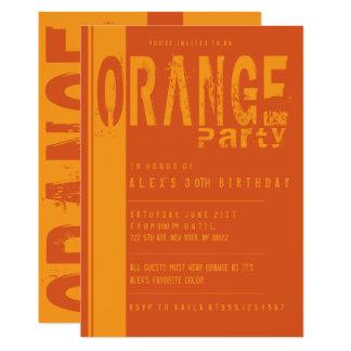 Invitaciones anaranjadas de la fiesta de