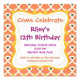 Invitaciones anaranjadas de la fiesta de cumpleaño anuncios personalizados