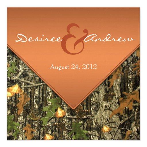 Invitaciones anaranjadas del boda de Camo Invitacion Personalizada