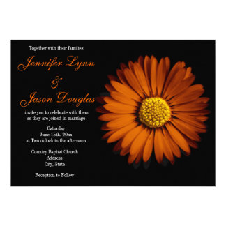 Invitaciones anaranjadas del boda del negro de la