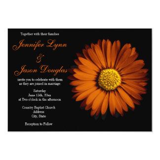 Invitaciones anaranjadas del boda del negro de la comunicado personalizado