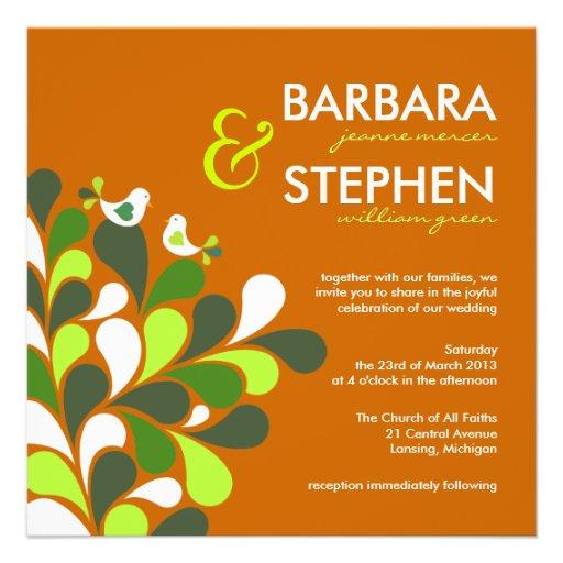Invitaciones anaranjadas del boda del otoño respet invitacion personalizada