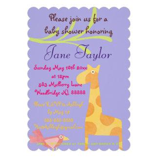Invitaciones animales púrpuras de la fiesta de invitación personalizada