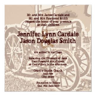 Invitaciones antiguas del boda de la granja del invitación 13,3 cm x 13,3cm