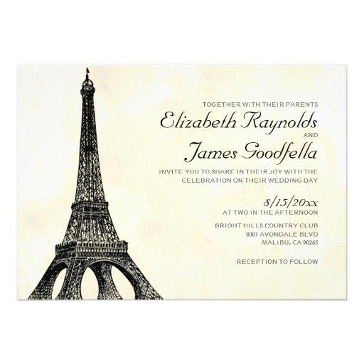 Invitaciones antiguas del boda de la torre Eiffel Comunicados Personalizados