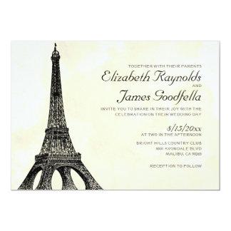 Invitaciones antiguas del boda de la torre Eiffel Invitación 12,7 X 17,8 Cm