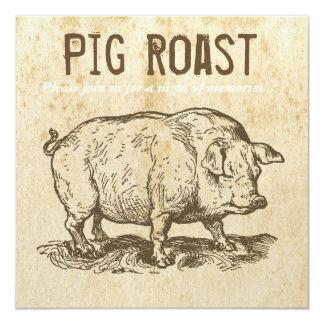 Invitaciones antiguas rústicas de la carne asada invitación 13,3 cm x 13,3cm