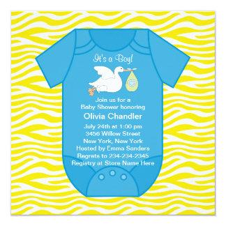 Invitaciones azules amarillas de la ducha del bebé invitación 13,3 cm x 13,3cm