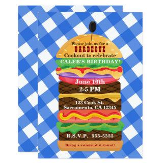 Invitaciones azules de la barbacoa del Cookout del